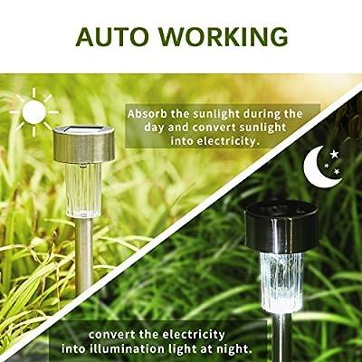 gigalumi Solar Licht Outdoor Garten LED-Licht Landschaft/Weg Beleuchtung Edelstahl steel-12Pack...