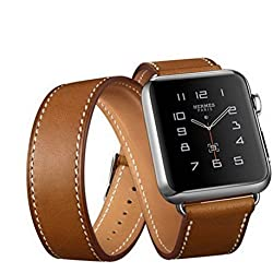 Apple Watch Band,Sanday® Luxury Double Tour Genuine Leather watch Band strap Bracelet Replacement Wrist Band With Adapter Clasp for Apple Watch iWatch (Brown 42mm)