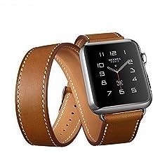 Sanday Bracelet pour AppleWatch Series 3 / 2 / 1,Design Double Bracelet de Remplacement Manchette en Cuir Pour Apple Watch 42mm Brown