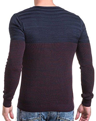 BLZ jeans - feiner Mann Pullover stricken Marine und Burgunder Rot