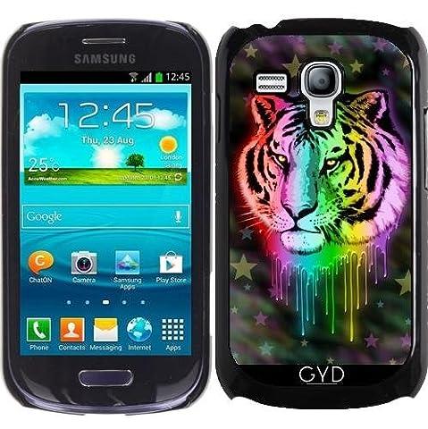 Hülle für Samsung Galaxy S3 Mini (GT-I8190) - Tiger Neon Regenbogenfarben by BluedarkArt