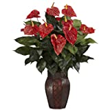 Nearly Natural 6666 Anthurium with Vase Decorative Silk Plant, Red by Nearly Natural