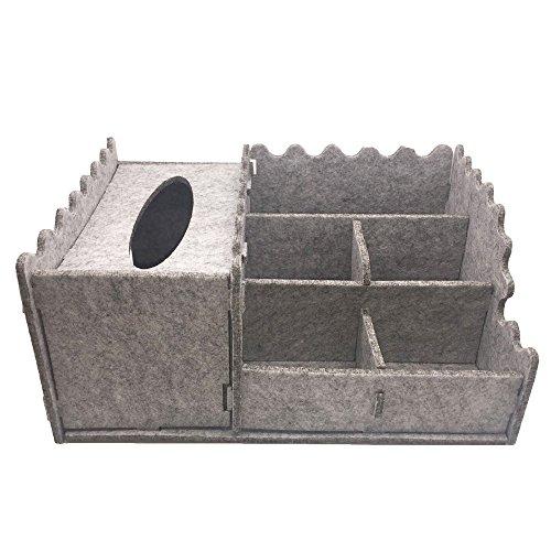 SANQIANWAN Filz Aufbewahrungsbox Handmade Organizer Container mit Tissue Box Soft Durable Fernbedienung Halter Desktop Schreibwaren f¨¹r B¨¹ro, Home, Raumdekoration, Grau
