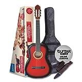 Ashton CG44 Pack guitare classique 4/4 avec accessoires Rouge