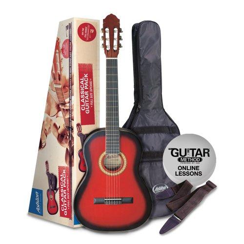 Ashton cg44 - set completo chitarra 4/4 rossa burst, con accessori