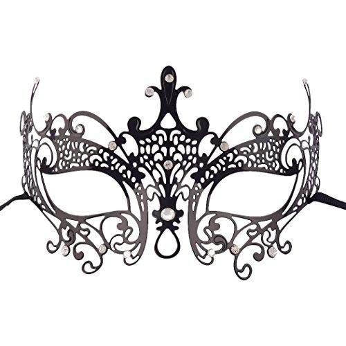 Erotische Augenmaske, verführerische Maske venezianisch, sexy Metall Gesichtsmaske mit Kunststein-Applikationen, Karneval Maskerade, schwarz - SEE-X Damen Accessoire 6408