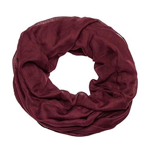 MANUMAR Loop-Schal für Damen einfarbig | feines Hals-Tuch in dunkel-bordeaux als perfektes Herbst Winter Accessoire | Schlauch-Schal | Damen-Schal | Rund-Schal | Geschenkidee für Frauen und Mädchen
