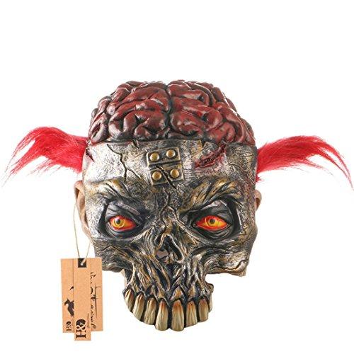 Party Kostüm Dora - Hyaline & Dora Gruselige Halloweenmasken Tier-Skelett mit blutigem Gehirn und Katzenaugen, Halloween-Kostüm, Party-Requisiten, Latexmasken (rotes Haar)