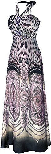 Angel-fashions Femme Halter perles en mousseline de soie imprime leopard ruche robe longue Noir