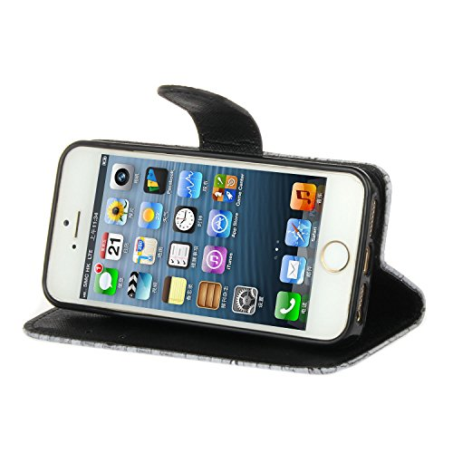 iPhone SE Hülle iPhone 5s Hülle iPhone 5 Hülle, Cozy Hut Handyhülle iPhone SE / 5 / 5S , PU Leder Tasche Hülle Schutzhülle Case Magnetverschluss Telefon-Kasten Handyhülle Standfunktion mit Kartenfach  Notizbuch