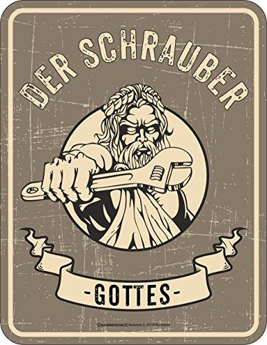 RAHMENLOS Original Blechschild für den Mechaniker und Schrauber: Der Schrauber Gottes