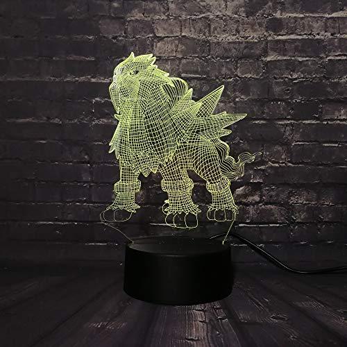 KangYD Pokemon Spiel 3D Rgb Lampe, LED Nachtlicht, Bunte Veränderung, Weihnachtsgeschenk, Bürodekor Lampe, Dekor Geschenk, Boys Geschenk, D - Remote 7 Farbe (Crack White)