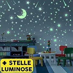 Idea Regalo - Stelle Adesive Fluorescenti 328 Pezzi | Nuovo Set di Stickers Decorativi | Stelline Luminose Per Soffitto Cameretta Bambini | Si Illuminano Al Buio Di Notte