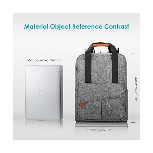 55bda8485169 REYLEO Business Laptop Backpack 15.6 Anti-Theft Notebook Rucksack Casual  Daypack with Leather Handle for Women Men - Grey (RB23)