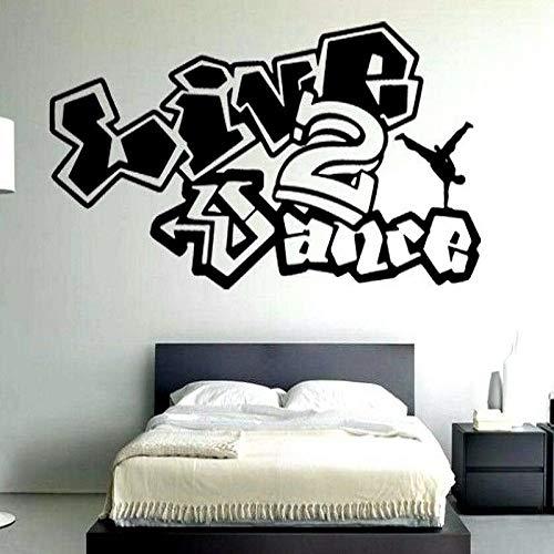 Tanz Vinyl Wandkunst Applique Graffiti Hip Hop Breakdancer, Street Dance Wandkunst Schlafzimmer Dekor Grau 142x57cm Applique Coupe
