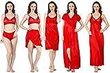 Bombshell Red Satin Nightwear 6pcs Set o...