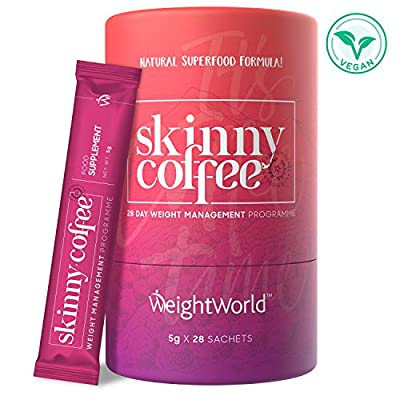Skinny Coffee - Fast 28 Day Weight Loss Programme - Instant Ground Keto Slimming Coffee Contains Arabian Coffee, Green Coffee Beans, Energy Boost Ginseng & Macha Fat Burners - by WeightWorld from Comfort Click