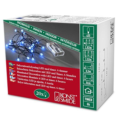 Konstsmide 1491-907 - Luci LED su filo, a batteria, 20 punti luce, timer integrato, colore: verde blu