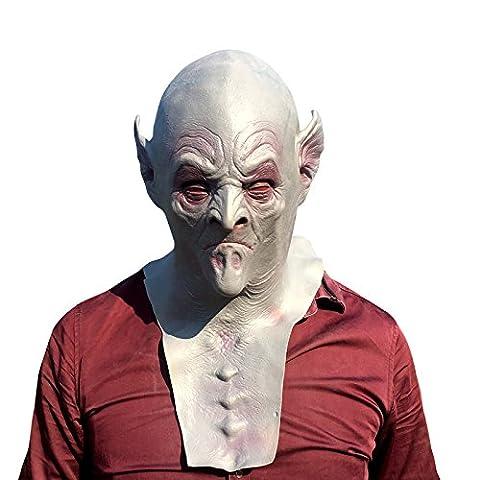 Alien monster with big ears mask Masque tête en latex très haute qualité avec des ouvertures pour les yeux Halloween Carnaval Costume de carnaval déguisement pour adultes hommes et femmes femmes hommes effrayant creep zombie monstre démon horreur partie