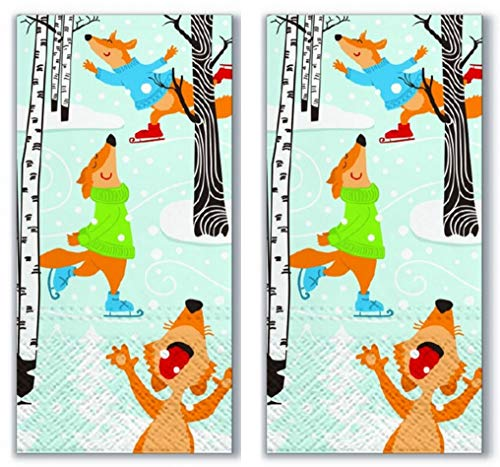 20 Taschentücher (2x 10) Taschentücher Füchse auf Schlittschuhe/Winter / Weihnachten