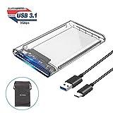 ELUTENG Disque Dur Externe 2,5 USB C SSD 5Gbps Haute Vitesse Boîtier Disque dur 2.5 60go - 2to USB Type C 7/9.5 mm SATA HDD Caddy Disque dur