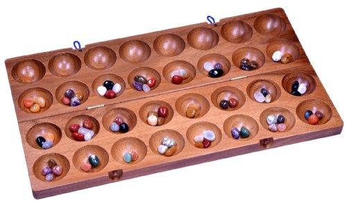 Hus - Bao - Kalaha - Mancala - Steinchenspiel - Edelsteinspiel aus Samena-Holz inkl. 75 Edelsteinen