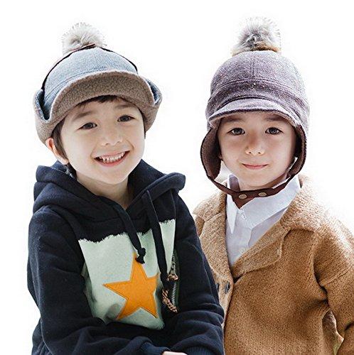 Bigood Bonnet Casquette Bébé Enfant Coton Chapeau Cache Oreilles avec Pompon Chauffant Café