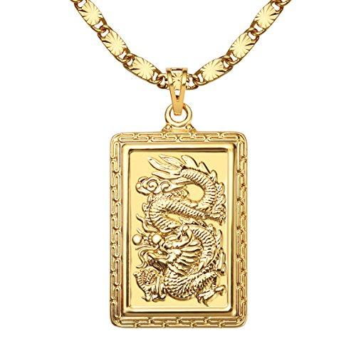 Masarwa Herren-Halskette mit Drachen-Anhänger 24 Karat vergoldet 60 cm (Kette Gold Karat 24)