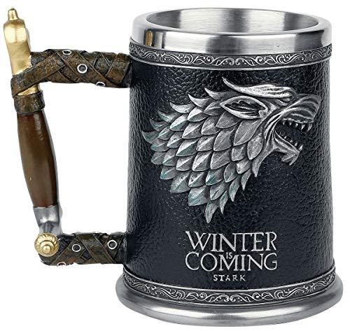 Game of Thrones Krug deluxe 3D Schattenwolf Winter is Coming Wappen Deko 600ml grau