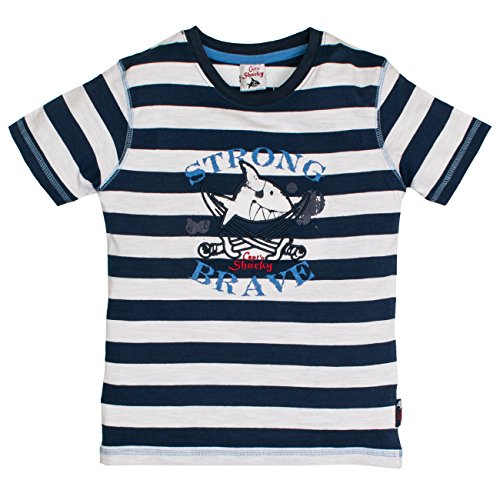 Capt'n Sharky by Salt & Pepper Jungen S T-Shirt Sharky Stripes, Blau (Blue 490), 104 (Herstellergröße: 104/110) (Gestickte Palme)