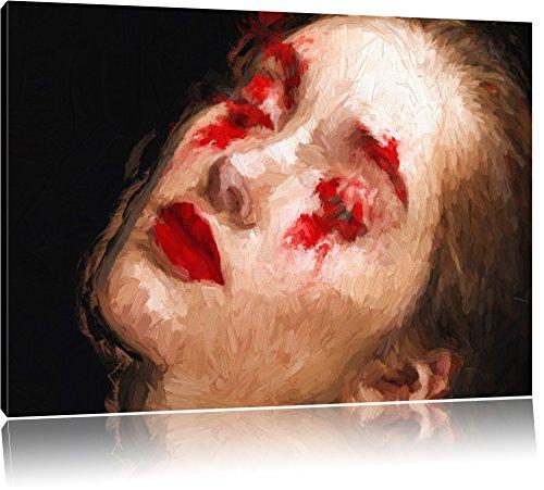 Frau mit roten Puder Pinsel Effekt, Format: 120x80 auf Leinwand, XXL riesige Bilder fertig gerahmt...