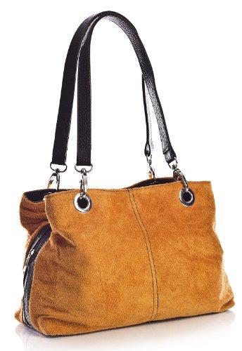 Big Handbag Shop kleine Damen Umhängetasche mit mehreren Reißverschlusstaschen aus Wildleder Electric Orange - schwarz Trim