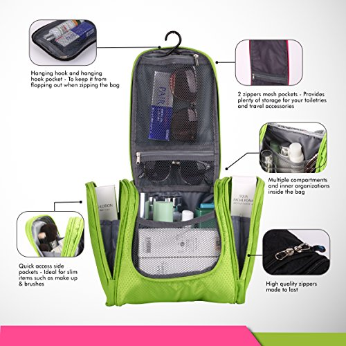 Bago Travel Toiletry Bags for man woman & kids – 100% SATISFACTION GUARANTEED. Hanging Toiletries Bag or for Home. Multi Pockets & High Quality Zippers. Perfect as Women's , Mans Organiser Kit (Green)