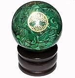 Crocon grün Malachit Energetische Sphere Ball Tree of Life Symbol Energie Generator für Reiki Healing Chakra Balancing & EMF Schutz Größe: 50–60mm