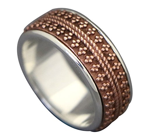 Energie Pierre Red Articule Reticulation Beads Style Argent Et Cuivre Spinning Ring