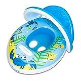 TOAOB Baby Schwimmhilfen Schwimmen Ring mit Sonnendach 0-3 Jahre Aufblasbares Kinderboot für Wasserspaß Familienspaß in See Meer Schwimmbad