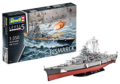 Revell 05040 14 Modellbausatz Bismarck im Maßstab 1:350, Level 5
