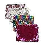 MLJ - 4 Pièces Brillant Sac à Main de Soirée Sirène Sequins Maquillage Sacs Bicolore Réglable...