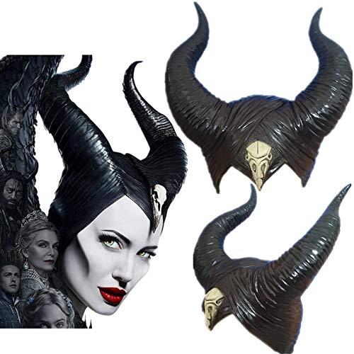 Halloween Cosplay Maleficent: Herrin des Bösen Hexe Hörner Kopfbedeckung Maske Kopfbedeckung Helm Party Black Queen