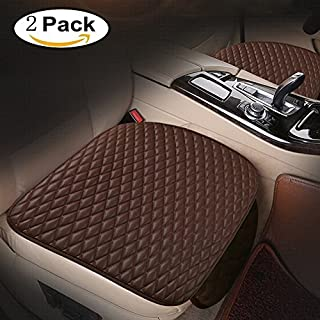 ANGELNEWS Car Seat Cushion, Breathable Car Interior Seat Cover Cushion Pad Mat for Auto Supplies Office Chair with PU Leather (2PC front seat cover)