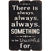 NIKKY HOME Wooden There Is Always Always Always Something To Be Thankful for Wall Decorative Sign Plaque, 20 x 1.6 x 30.2 CM