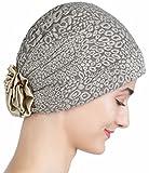 Brokat-Kopfbedeckung Mit Satin-Rose für Haaverlust, Krebs, Chemotherapie (Padded Beige)