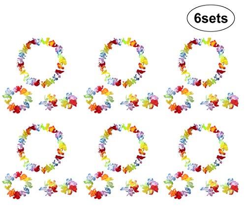 Hawaiian Blumen Leis Armbänder Stirnband Halskette Garland Tropische Luau Silk Flower Blume Leis Head Neck Wrist Accessoires Strand Hawaiikette Luau Tropische Thema Beach Dance Gefälligkeiten Kleid