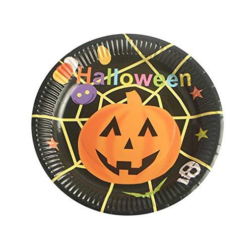 Lidahaotin 10PCS Multi Muster Bunte Halloween-Thema Runde Einweg 17,5cm Durchmesser Pappteller #4 17.5cm