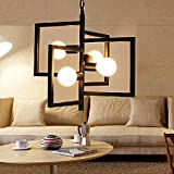 Aiwen Plafond Fer Forgé Lustre Light Lampe ( Bulbs not Included ) Noir ( 4 supports de lampe )...