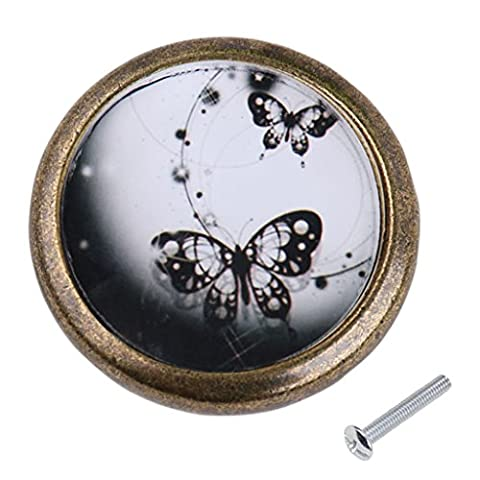 MagiDeal Antique Brass Cabinet Drawer Round Pulls Cupboard Knob Handle Two Black Butterfly Pattern