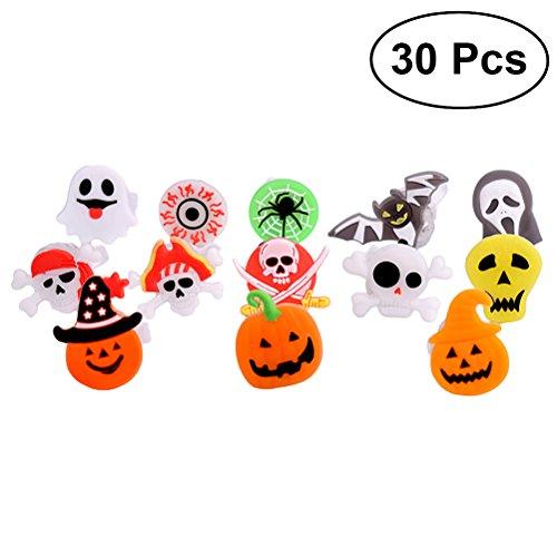 YeahiBaby 30Stück Halloween Light up Rings LED Finger Licht Spielzeug Partyzubehör Beleuchtung für Kinder und Erwachsene (zufällige Stil)