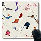 Mousepads Glamour Stiletto High Heels Muster Schuhkunst Flower Ribbon Pump Design Längliche Form rutschfeste Gaming Mouse Pad Gummi Längliche Matte,Gummimatte 11,8'x 9,8' , 3 mm Dicke