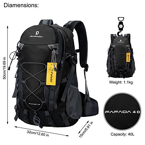 Imagen de fafada 40l unisex  de senderismo viaje marcha del deporte casual escalada trekking con cubierta de lluvia impermeable negro alternativa