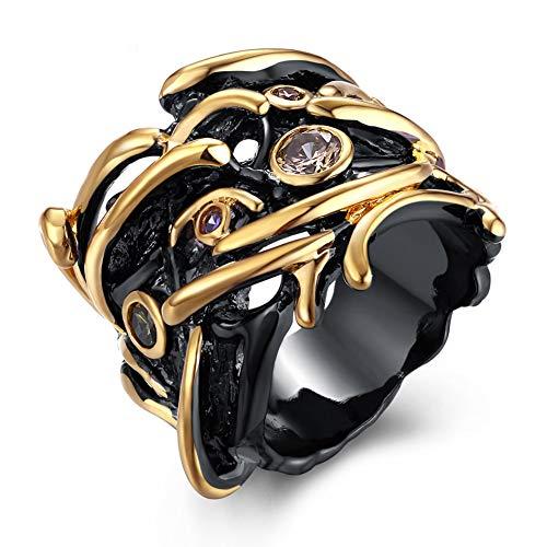LILIMO Ringe Vintage Schmuck Zwei Farb-Beschichtung Hecking Hochzeit Gotischen Stil Cross Color Gold Ring Zircon Frauen Schwarzen Kupferring Größe 6-9,8 (Gelbe 14kt Gold Engagement Ring)